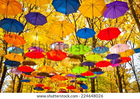 People with umbrella in a autumn raining day background concept. Vector illustration design Stock photo © Linetale