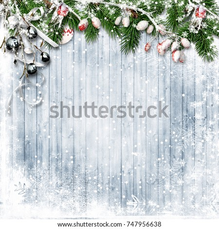 Christmas Card With Firtree Border Stock photo © cammep