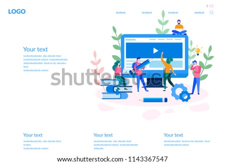 Isometric flat vector landing page template for effective time management. Stock photo © TarikVision