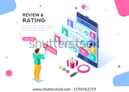 satisfação · do · cliente · isométrica · vetor · exame · cliente · comentários - foto stock © tarikvision