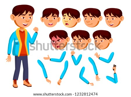 Asian Teen Boy Vector. Animation Creation Set. Face Emotions, Gestures. Friendly, Cheer. Animated. F Stock photo © pikepicture