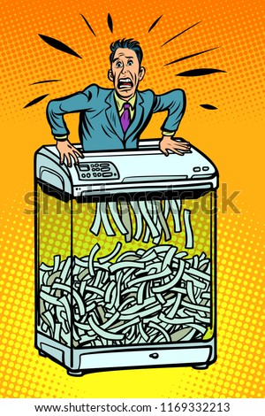 Işadamı kâğıt parçalayıcı ofis cihaz gizli Stok fotoğraf © rogistok