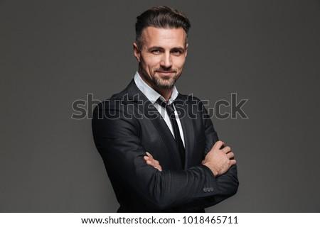 Portré sikeres üzletember hivatalos öltöny áll Stock fotó © deandrobot