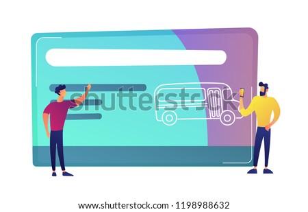 Dois homens enorme transporte público viajar cartão ônibus Foto stock © RAStudio