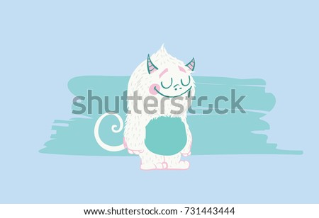 Happy Horned Blue Monster Cartoon Character With Welcoming Open Arms Stock photo © hittoon