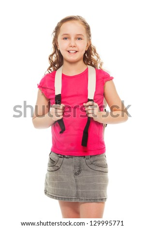 A Portrait of cute, confident 9 years old girl, isolated on white Stockfoto © Lopolo