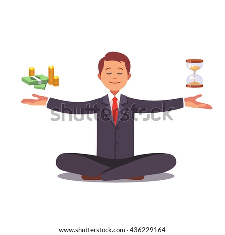 Businessman found his balance with time and money. Business man sitting and mindful meditating in lo Stock photo © makyzz