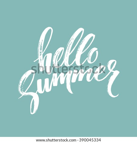 hello summer illustration with typography letter and tropical plants on dark blue background vector stock photo © articular