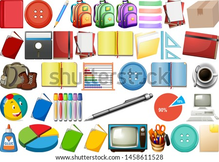 Office, household, toys and sport, equipment isolated in huge se Stock photo © bluering