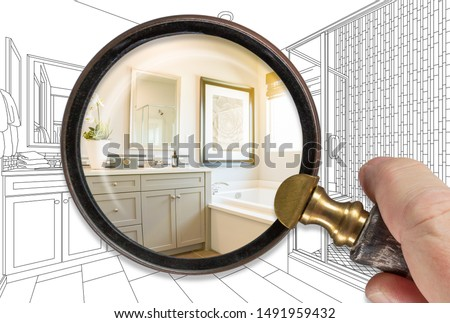 Hand vergrootglas afgewerkt badkamer bouwen Stockfoto © feverpitch