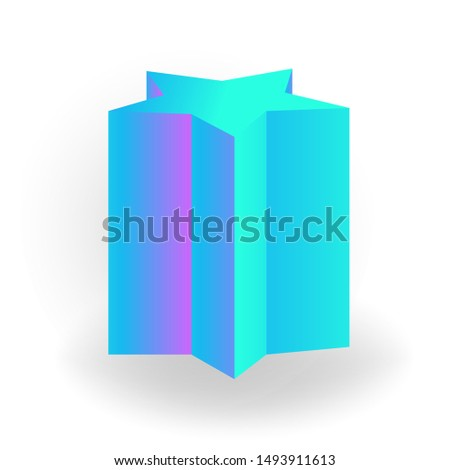 pentagram prism - 3D geometric shape with holographic gradient isolated on white background vector Stock photo © MarySan