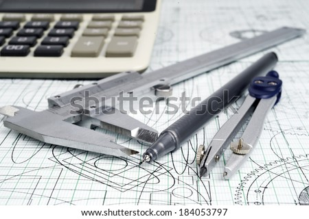 Square lines and crosses engineering drawing. Technological drawing made with lines and circles. Geo Stock photo © kyryloff