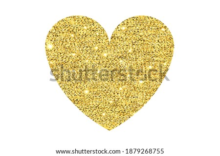 Gold handing shiny glitter glowing heart isolated on red background. Valentines Day background. Vect Stock photo © olehsvetiukha