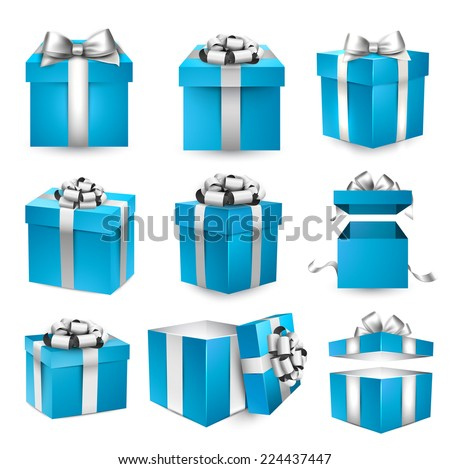 Set icons blue gift box with ribbons and closed and opened lid Stock photo © MarySan