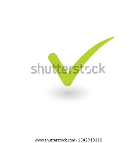 Green positive checkmark icon with shadow. Stock Vector illustration isolated on white background. Stock photo © kyryloff