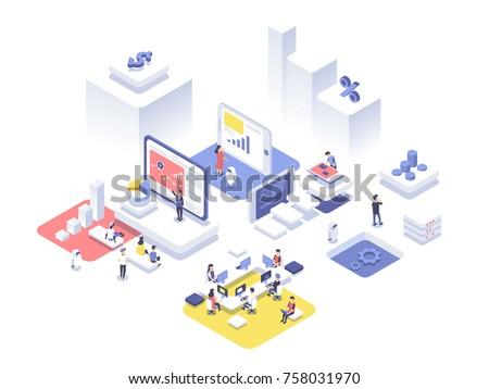 Startup procede isometrische technologie online Stockfoto © benzoix