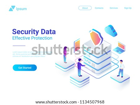Mobile data security isometric vector illustration. Online payment protection system concept with sm Stock photo © benzoix