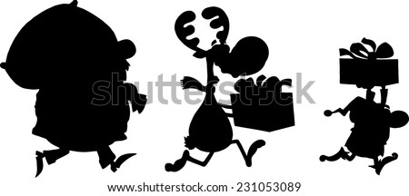 Santa Claus,Reindeer And Elf Running In Christmas Night  Silhouettes Design Card.  Stock photo © hittoon