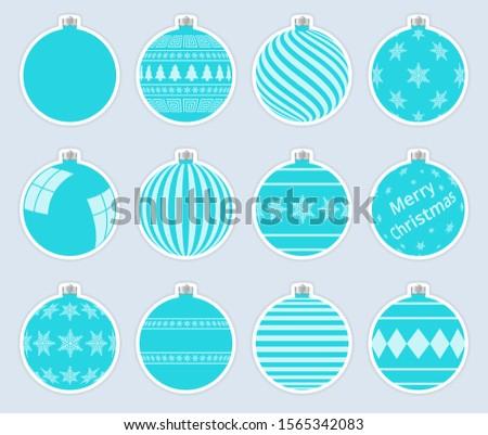 Mágikus akvamarin karácsony golyók matricák izolált Stock fotó © ukasz_hampel