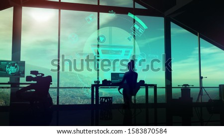 Silhouette of a female videographer in her studio on infographic background. Stock photo © ConceptCafe
