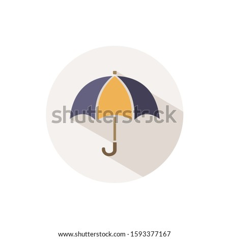 Umbrella. Icon with shadow on a beige circle. Fall vector illustration Stock photo © Imaagio