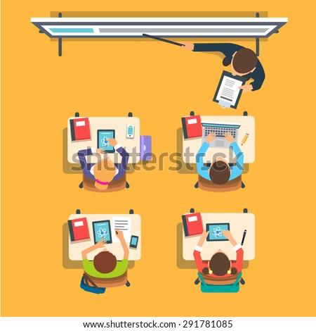 Magasról fotózva kilátás tanár iskola gyerekek Föld Stock fotó © wavebreak_media