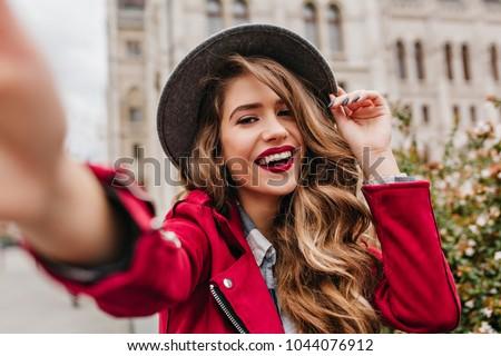 Portre güzel bir kadın sokak bulanık ışıklar kadın Stok fotoğraf © ElenaBatkova