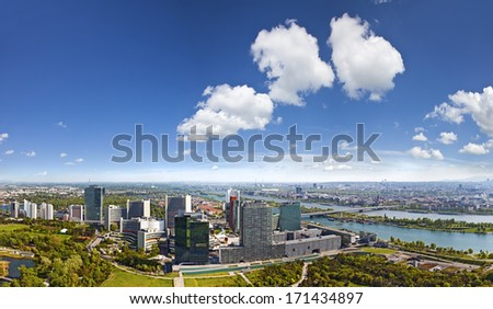 Vienna. Modern skyscrapers skyline and green landscape of Donaup Stock photo © xbrchx