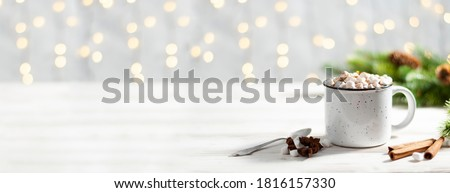 Banner of Hot chocolate with marshmallow candies on wooden background. Stock photo © Illia