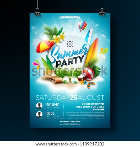 Tropical Summer Beach Party Flyer Design With Flower Palm Leaves And Toucan Bird On Blue Background Stock photo © articular