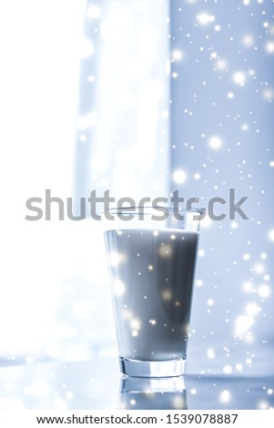 Magic holiday drink, pouring organic lactose free milk into glas Stock photo © Anneleven