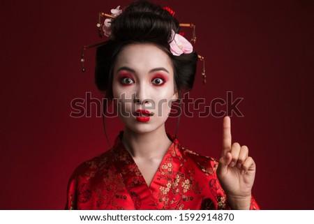 Kép ázsiai gésa nő japán kimonó Stock fotó © deandrobot