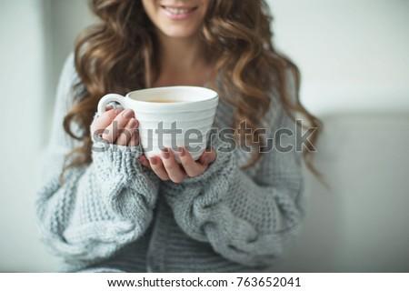 かなり ブルネット 小さな 女性 編まれた ストックフォト © vkstudio