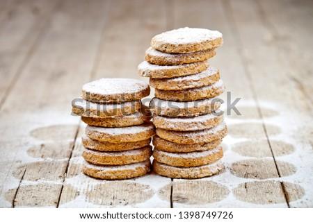 Taze yulaf kurabiye şeker toz Stok fotoğraf © marylooo