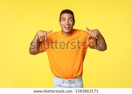 удивленный возбужденный красивый мужчина см. устрашающий рекламный Сток-фото © benzoix