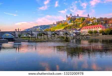 Wurzburg. Architecture and and scenic Wurzburg castle and vineya Stock photo © xbrchx