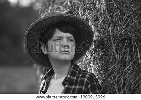 Boy in the autumn in an agricultural field stands near a cart with a pumpkin crop. Stock photo © ElenaBatkova