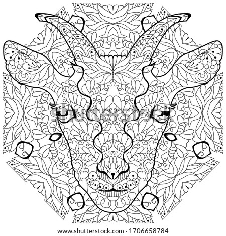 Zentangle goat head with mandala. Hand drawn decorative vector illustration for coloring Stock photo © Natalia_1947