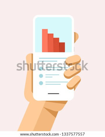 Hand holds the smartphone with financial value drop chart. Flat vector modern phone mock-up illustra Stock photo © karetniy