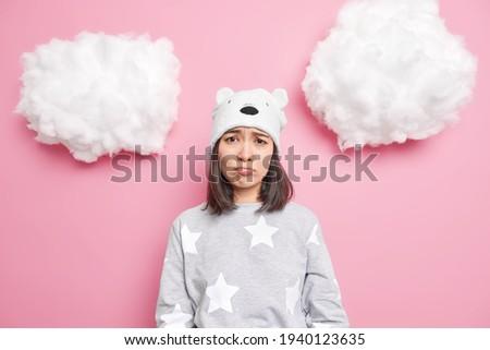 画像 小さな 退屈 アジア 少女 着用 ストックフォト © deandrobot
