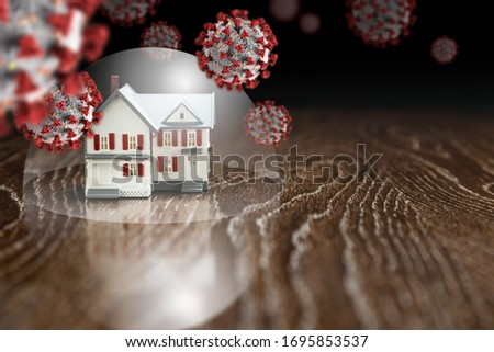 House Under Protective Dome Surrounded By Floating Coronavirus M Stock photo © feverpitch