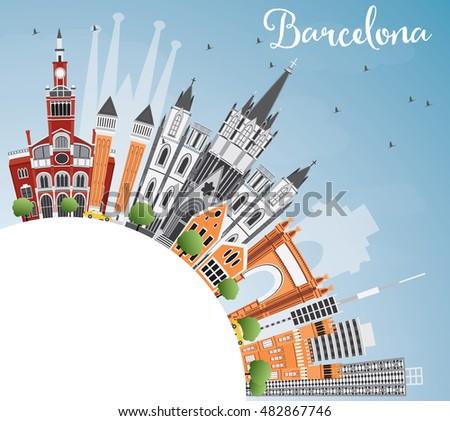 Barcelona sziluett szín épületek kék ég copy space Stock fotó © ShustrikS