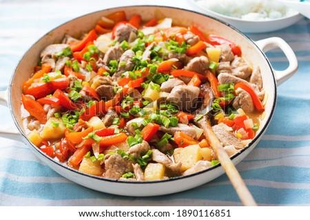 тайский блюдо горячей котелок с выпуклым днищем жареная курица Сток-фото © dash