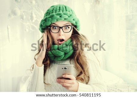 Image of surprised girl wearing hat expressing wonder with open  Stock photo © deandrobot