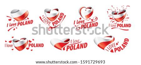 Bayrak Polonya sevmek kalp dizayn Stok fotoğraf © butenkow