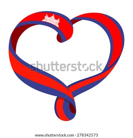 Bandeira Camboja forma coração amor Foto stock © butenkow