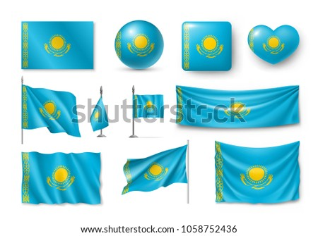 Vektor szett zászló Kazahsztán különböző kreatív Stock fotó © butenkow