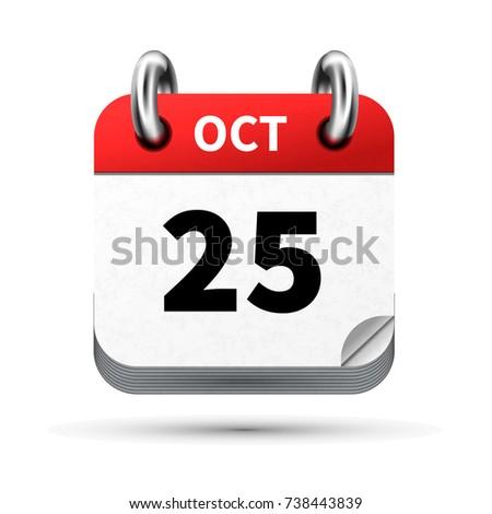 Brilhante realista ícone calendário 25 data Foto stock © evgeny89