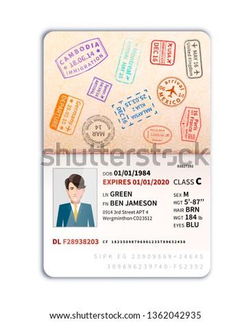 Extranjero pasaporte hombre foto frontera sellos Foto stock © evgeny89
