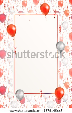 Lovely vertical background with bright red serpentine, confetti and balloons on white with banner te Stock photo © evgeny89